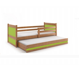 Postel z masivu pro 2 děti RICO 2 - Olše/Zelená