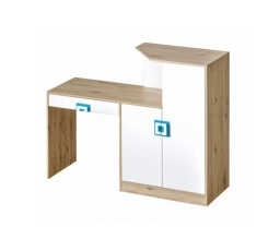 NICO - Psací stůl 11 /  Barva korpusu: Dub světlý,  Barva dvířek: Bílá / Dub světlý
