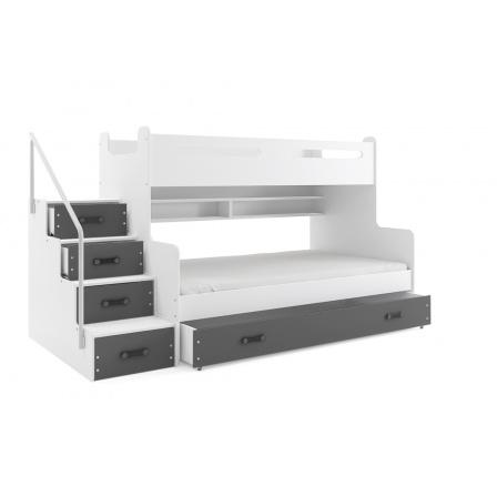 Patrová postel MAX3, šedá, 200x120 cm
