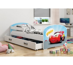 Dětská postel Luki - Bílá (Autíčko) 160x80 cm