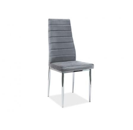 Jídelní židle H-261 VELVET, šedá/chrom