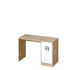 NIKOS 10 - Psací stůl (NICO 10) - bílá/dub světlý- úchyt šedá (DO) (K150-Z)