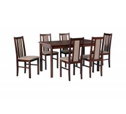 """MILENIUM 2 - jídelní set stůl+6 židlí (Modena 1P+Bos 14 ) ořech/látka 5 hnědá - kolekce """"DRE"""" (DM) (K150)"""