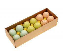 (R3) Kropenatá vajíčka, tyrkysovo-zeleno-hnědá kombinace, cena za 12ks v krabičce. Pravá slepičí vajíčka.