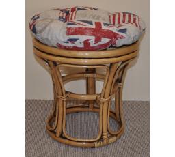 Ratanová taburetka brown wash polstr motiv vlajky