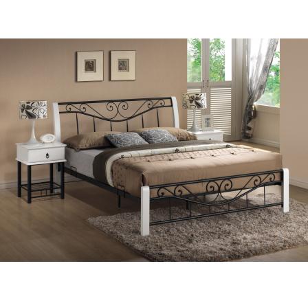 PARMA postel 160x200 -bílá/černá s kovovým roštem (PARMA2B) (K150-Z) (S)