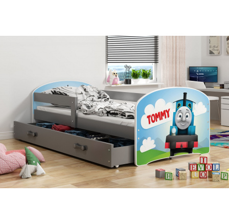 Dětská postel Luki - Grafit (Mašinka) 160x80 cm