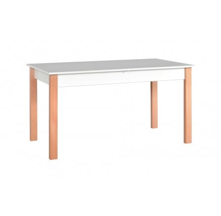 """ALBATROS 2 (ALBA 2) jídelní stůl rozkládací -bílá deska nohy přírodní buk- kolekce """"DRE"""" (Z)"""
