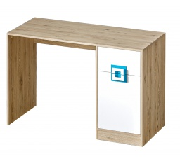 NIKOS 10 - Psací stůl (NICO 10) - bílá/dub světlý- úchyt tyrkys (DO) (K150-Z)