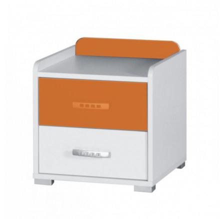 Noční stolek Nemo bílá/oranžový lesk