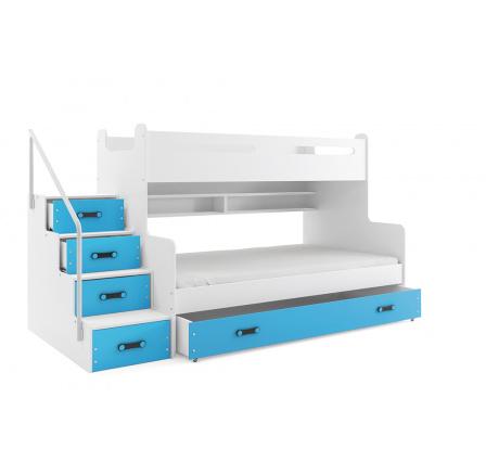 Patrová postel MAX3 Modrá, 200x120 cm