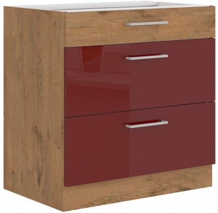 Kuchyňská skříňka Vega 80D3S dub lancelot/bordo lesk
