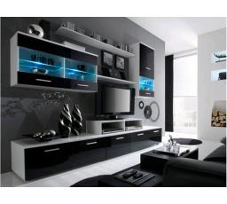 Obývací stěna LOGO II - bílá-černá NIGHT