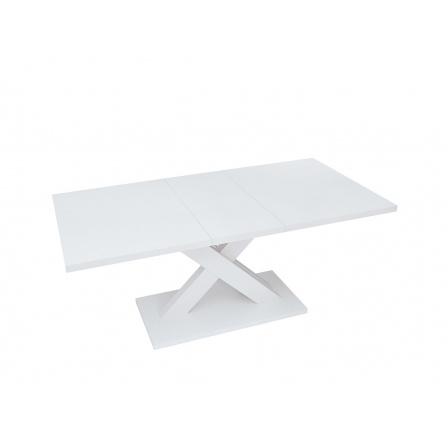 Jídelní stůl HANX, bílý lesk/bílá alpská