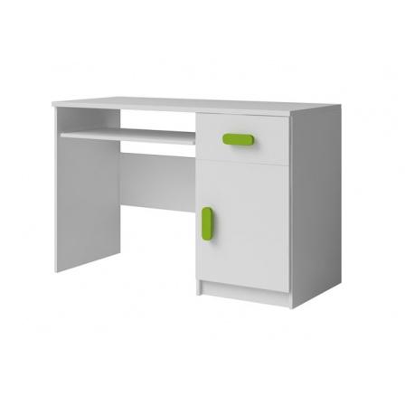 Moon 08 psací stůl bílá/zelené úchytky