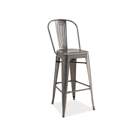 Barová židle LOFT H-1  kartáčovaná ocel