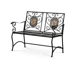Zahradní lavice, keramická mozaika, kovová kontrukce, černý matný lak (typově ke stolu JF2225 a židli JF2226)