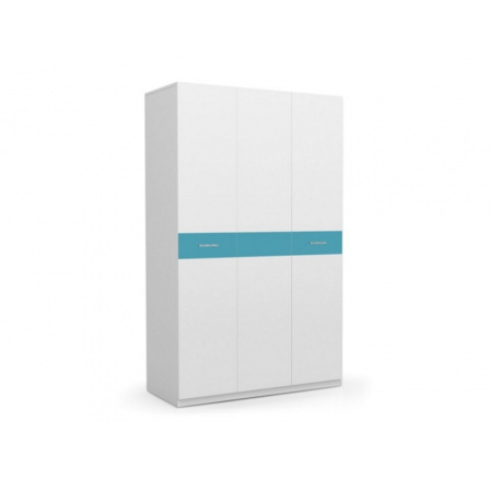 PARADISE 1 - Šatní skříň/ Bílá + Tyrkys
