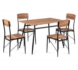Jídelní set (1+4), MDF 3D dekor vintage třešeň, kovová podnož, černý matný lak