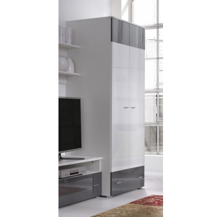 Skříň Wenecja R1 bílá/lesk grafit,bílá