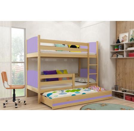 Patrová postel s přistýlkou Tamita borovice/fialová