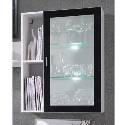 Závěsná vitrína Omega R3 bílá/černý lesk