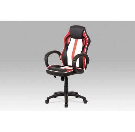 Kancelářská židle, červená-černá-bílá ekokůže+MESH, houpací mech, kříž plast černý
