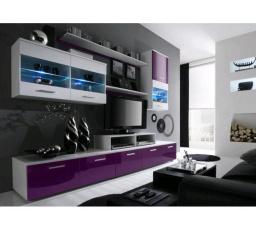 Obývací stěna LOGO II - bílá-fialová