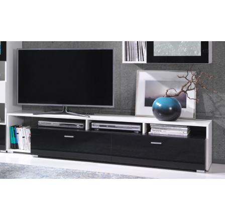 TV stolek Omega R1 bílá/černý lesk