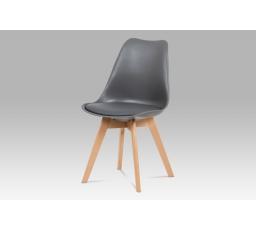 Jídelní židle, plast šedý / koženka šedá / masiv buk