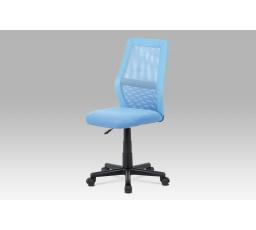 Kancelářská židle, modrá MESH + ekokůže, výšk. nast., kříž plast černý