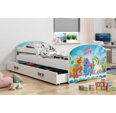 Dětská postel Luki - Bílá (Ponny) 160x80 cm