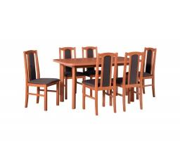 """MILENIUM 3 - jídelní set stůl+6 židlí (Wenus 2P+ Bos 7) olše/látka č.7 tmavě hnědá - kolekce """"DRE"""" (DM) (K150)"""