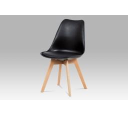 Jídelní židle, plast černý / koženka černá / masiv buk