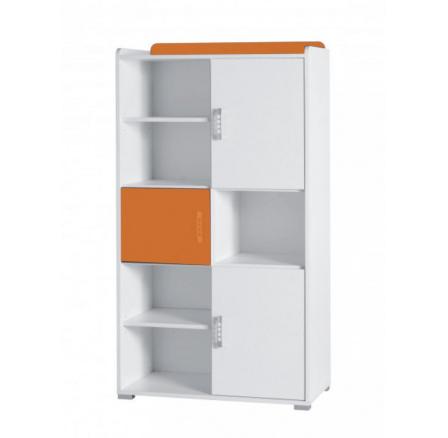 Regál Nemo R4 bílá/oranžový lesk