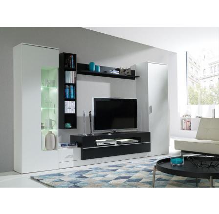 Obývací stěna Grey bílá/černá