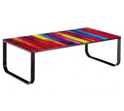 Konferenční stolek BA-7-Rainbow / sklo duha+černý kov