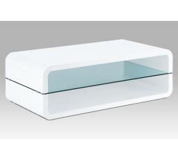 (AHG-012 WT) Konferenční stolek 120x60x40, MDF bílý vysoký lesk, čiré sklo