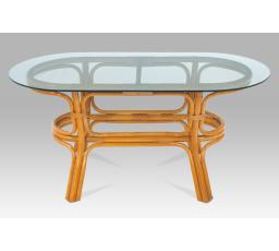 Ratanový konferenční stolek, moření světlý med. BEZ SKLA.