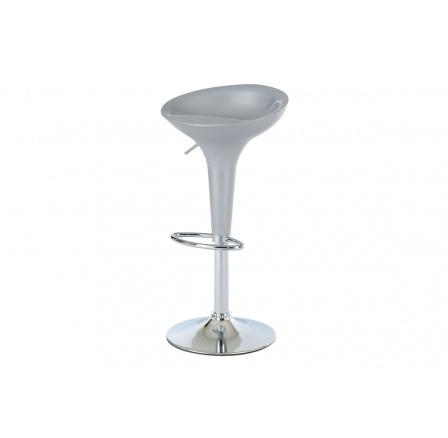 Barová židle, stříbrný plast, chromová podnož, výškově nastavitelná
