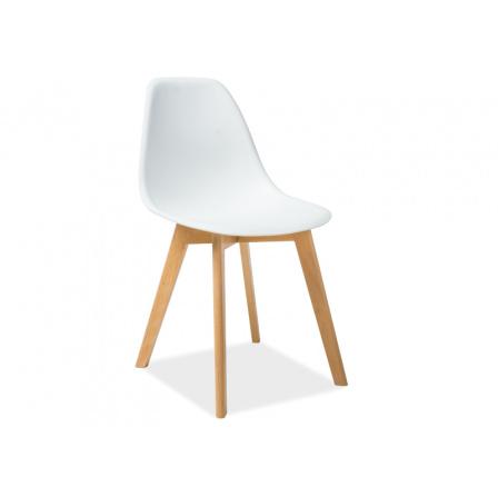 Jídelní židle MORIS, bílá/buk