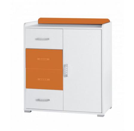 Komoda Nemo R6 bílá/oranžový lesk