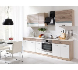 Kuchyňská linka ECONO 260 cm / Korpus: Dub Sonoma, Dvířka: San Remo + Bílá, Pracovní deska v barvě traventin