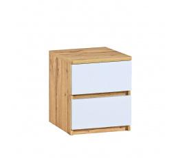 Noční stolek ARCA - AR10, Bílá arktická + Dub Wotan