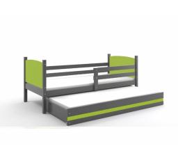 Postel z masivu pro 2 děti TAMI 2 - Grafit/Zelená