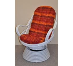 Ratanové houpací křeslo Swivel bílé polstr oranžová kostka