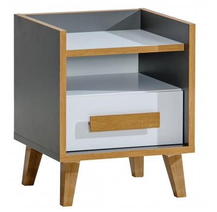 Noční stolek WERSO - W11, Bílá Briliant+Antracit+Rivera