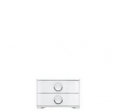 Noční stolek ROKSANA II KOM2S 4/5 bílý/bílá vysoký lesk