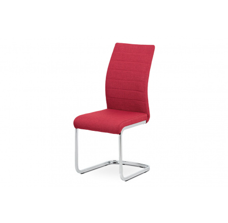 Jídelní židle, červená látka, kov chrom
