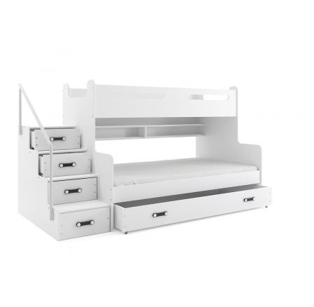 Patrová postel MAX3, bílá, 200x120 cm